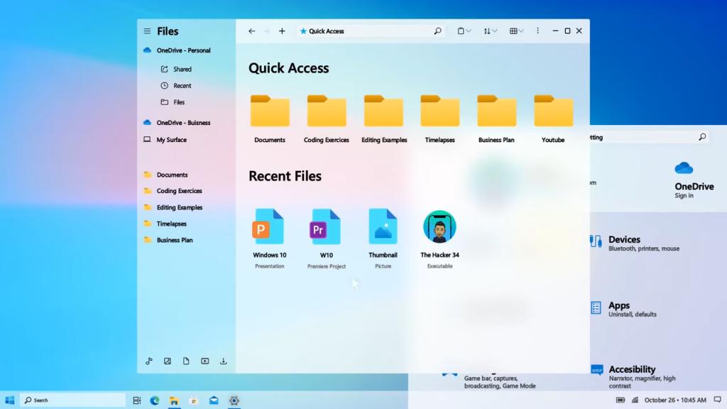 Imagem da interface do novo Windows 10 2021