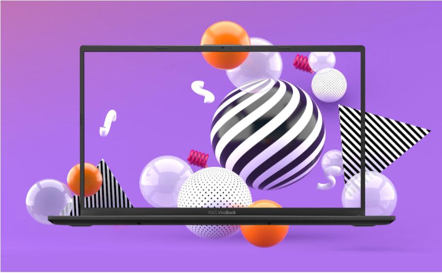 Novo vivobook 15 frente a um fundo colorido