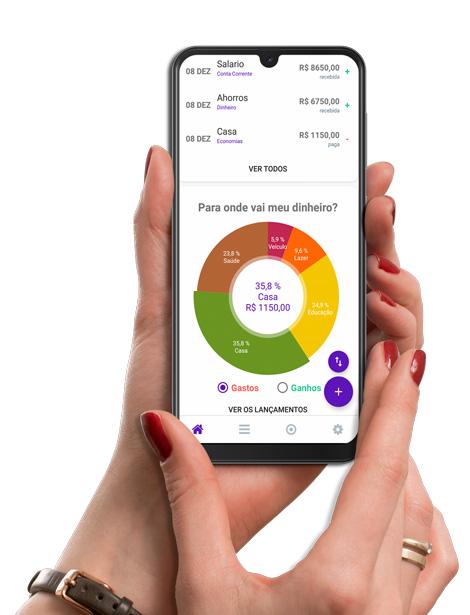 Print do aplicativo de finanças wisecash, mostrando a organização interna do app.