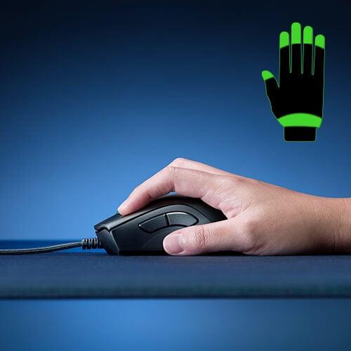 Pegada claw grip em mouse gamer.