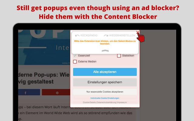 Uma das extensões gratuitas é o content blocker em imagem ilustrativa disponível pelo google chrome