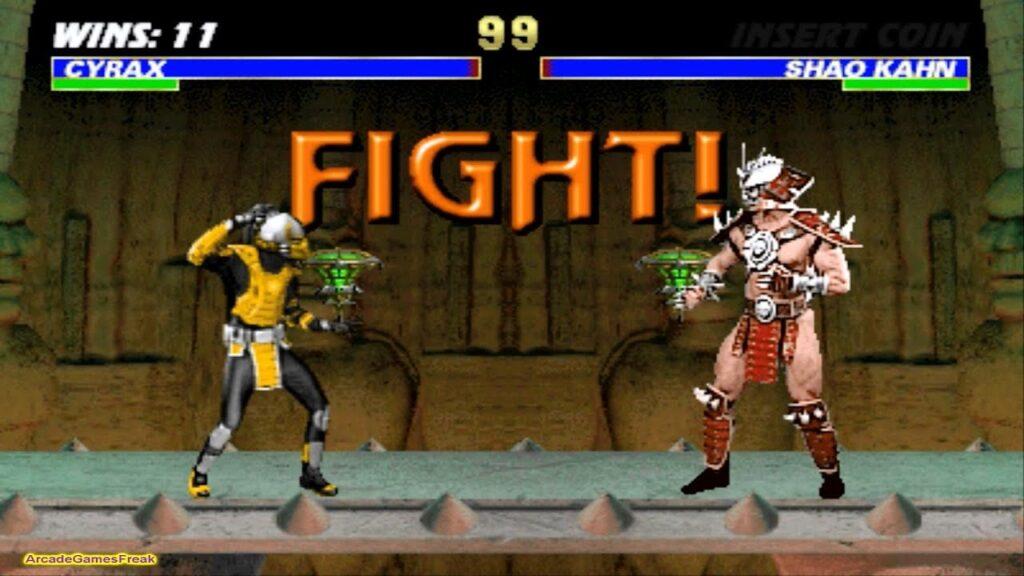 Cena de mortal kombat iii com uma luta entre cyrax e shao khan