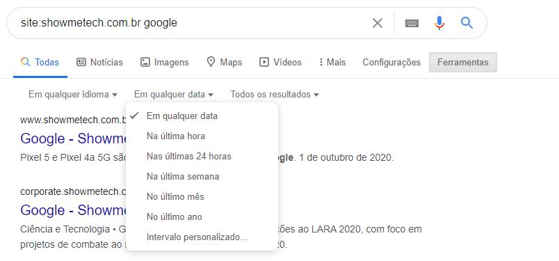 dicas do google data