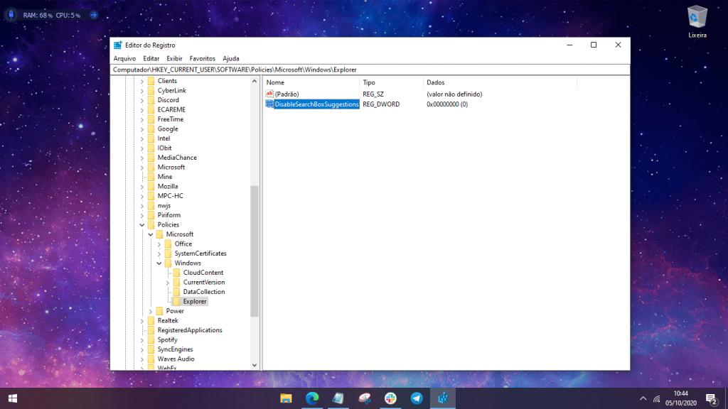 Print de uma etapa de como desativar o Bing na busca do Windows 10