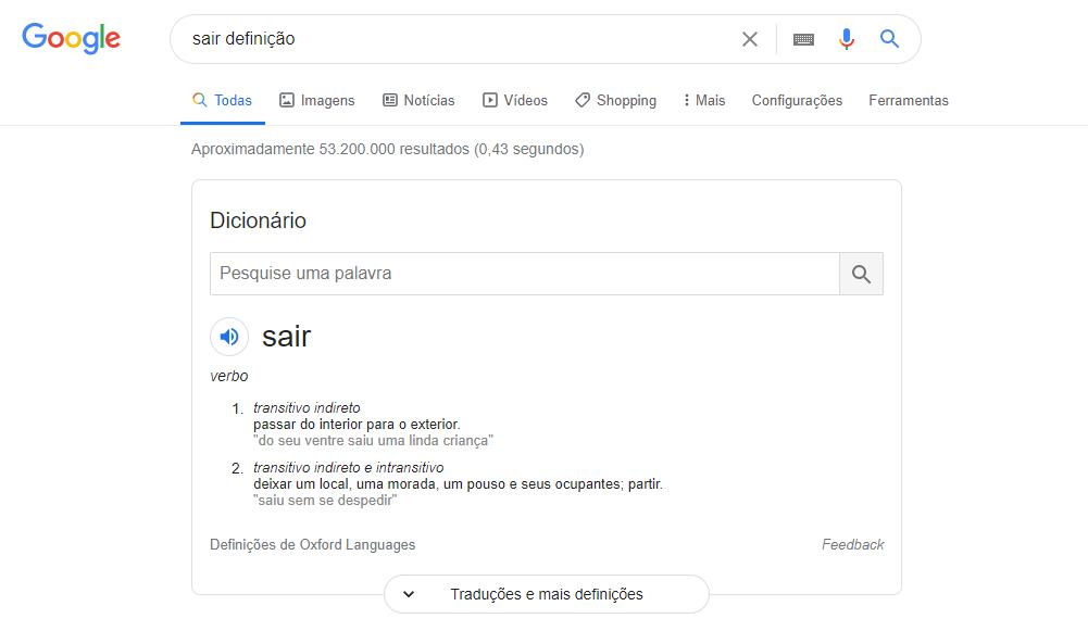 dicas do google dicionário
