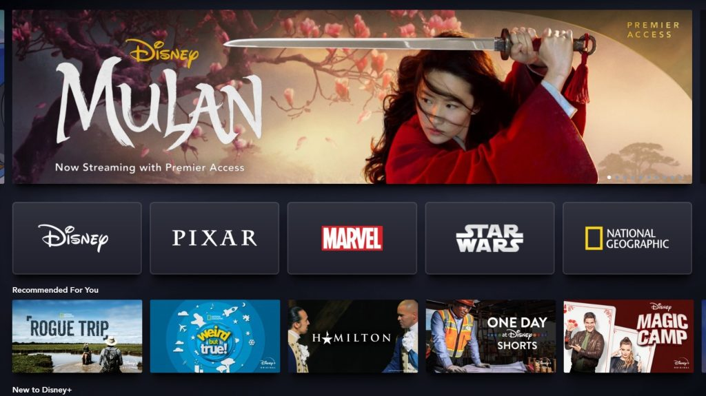 Imagem da interface do Disney Plus