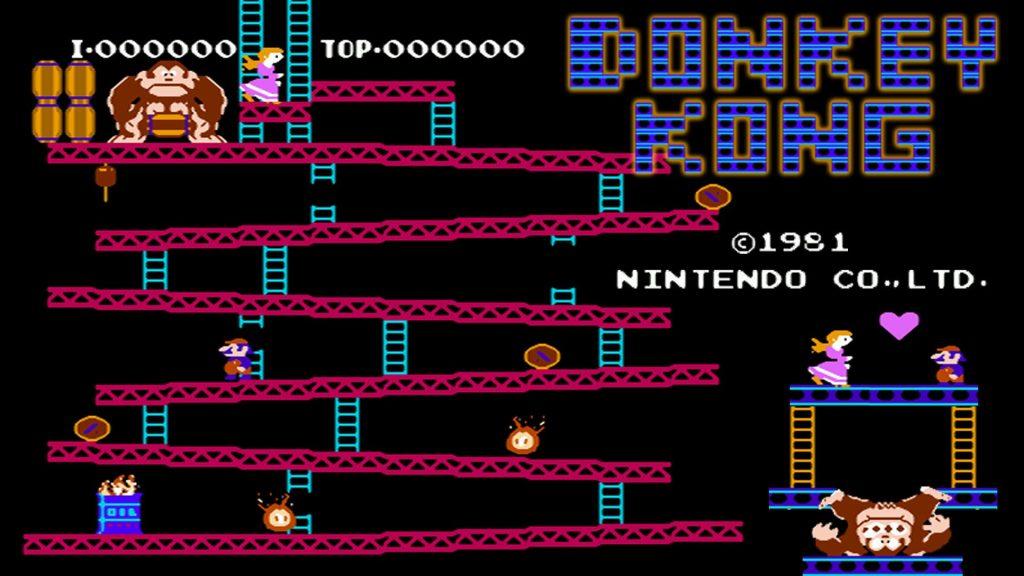 Cena de uma das fases de donkey kong em conjunto com uma edição mostrando a cena final do game