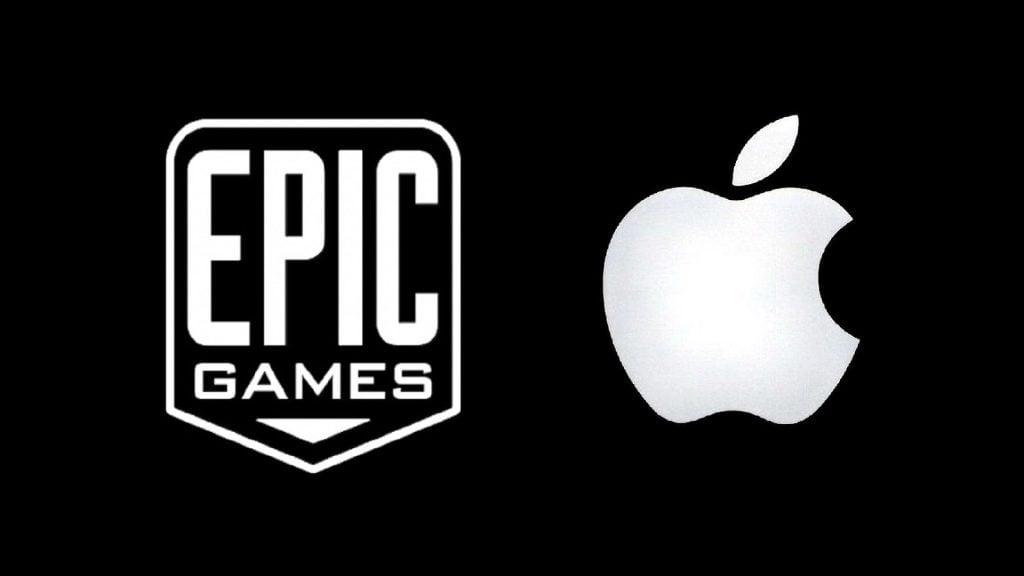 Logo da epic games e apple lado a lado
