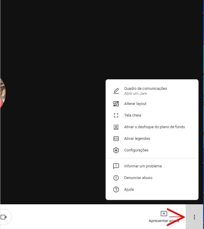 Desfocar o fundo no google meet menu