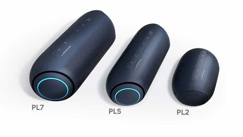 Montagem com novos modelos XBOOM Go PL da LG