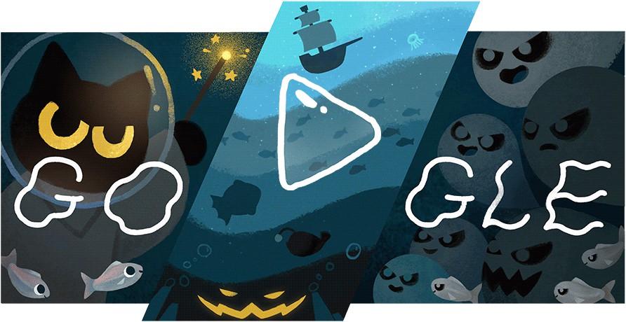 Imagem do doodle de halloween do google
