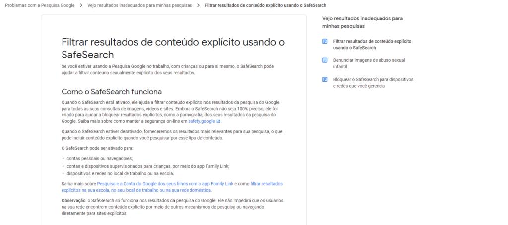 dicas do google safesearch