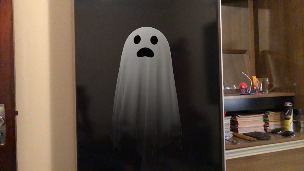 Print de fantasma 3d do halloween do google
