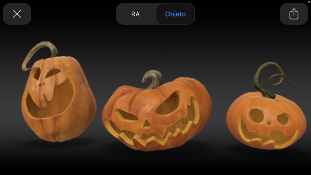 Print de abóboras 3d do halloween do google