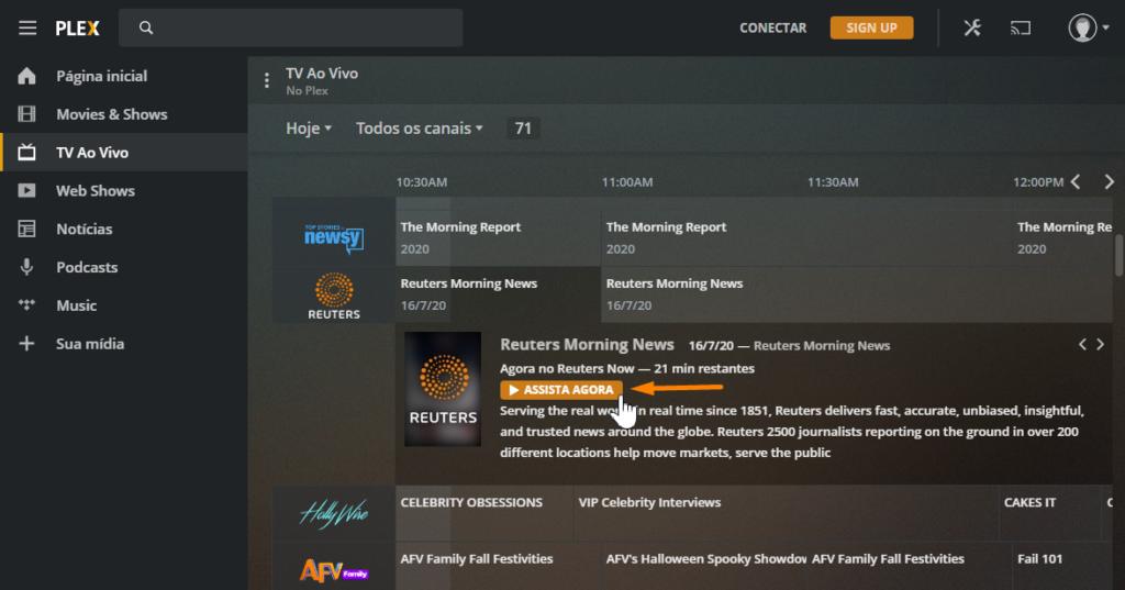 Print de tela ensinando como assistir TV ao vivo usando o Plex