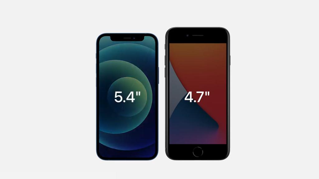 Imagem comparando o iphone 12 mini com o iphone se
