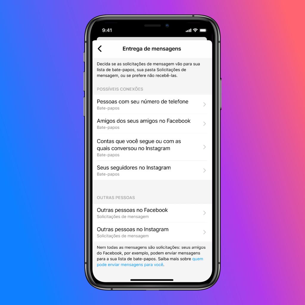 Print da tela de configurações da integração entre instagram e messenger