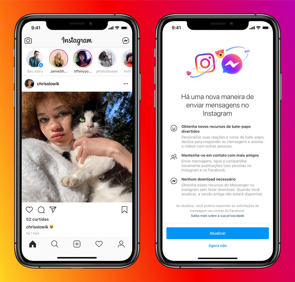Iphones mostrando integração entre instagram e messenger
