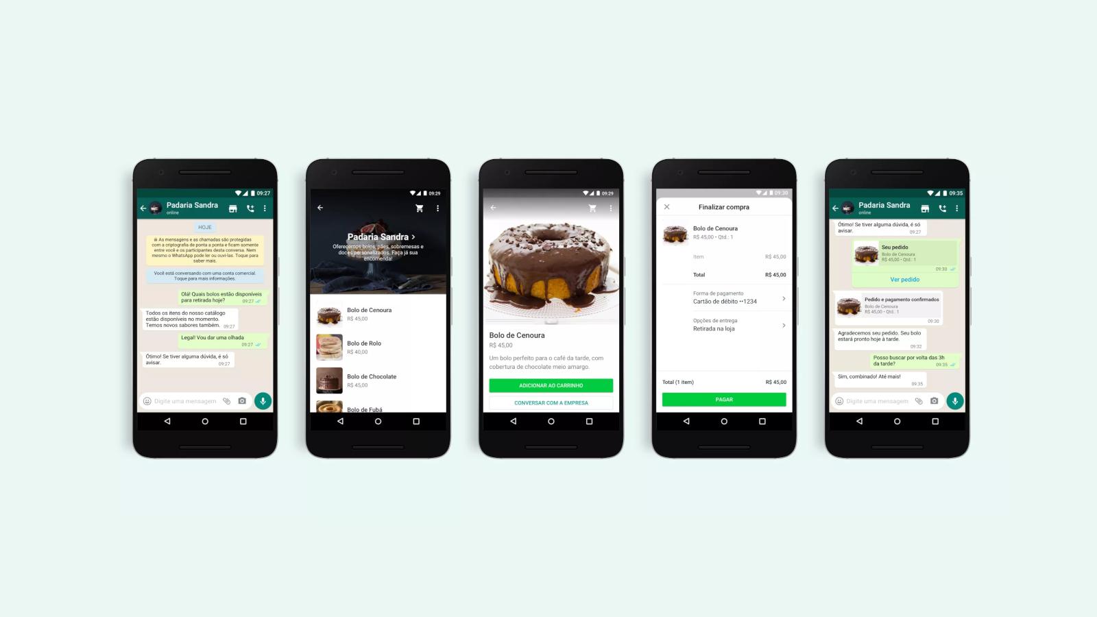 Imagem das novas funcionalidades do whatsapp business