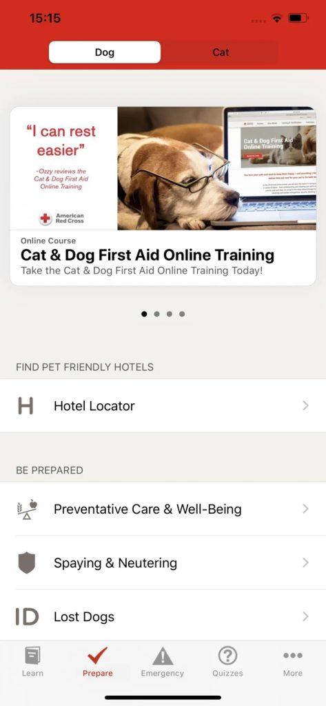 Captura de tela do aplicativo pet first aid