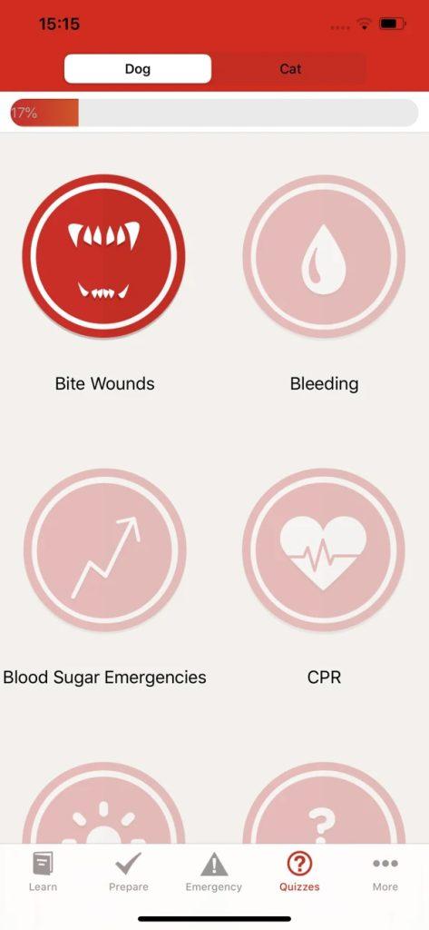 Captura de tela do aplicativo pet first aid da american red cross