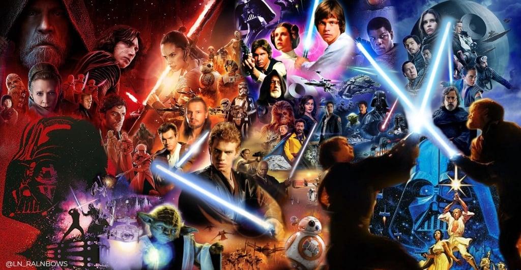 Montagem com filmes Star Wars, que vão ser conteúdo exclusivo do Disney Plus