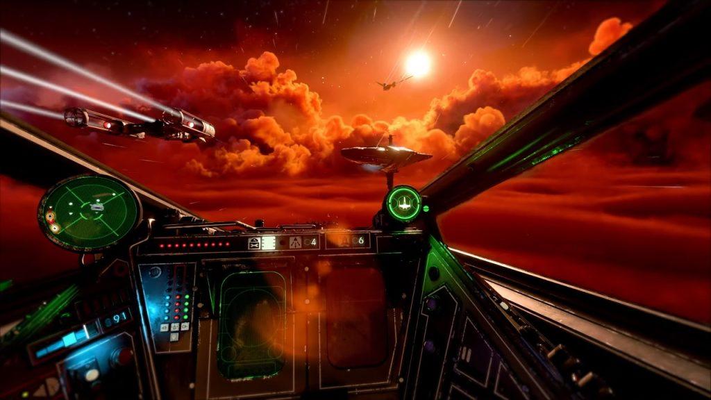 Voando pelos céus de um planeta em uma x-wing