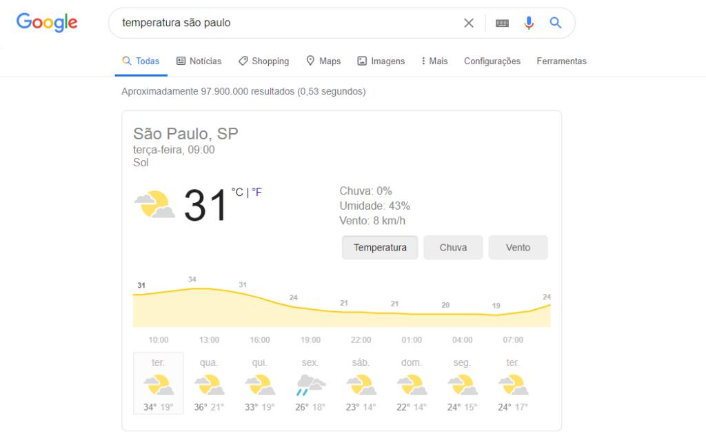 dicas do google temperatura