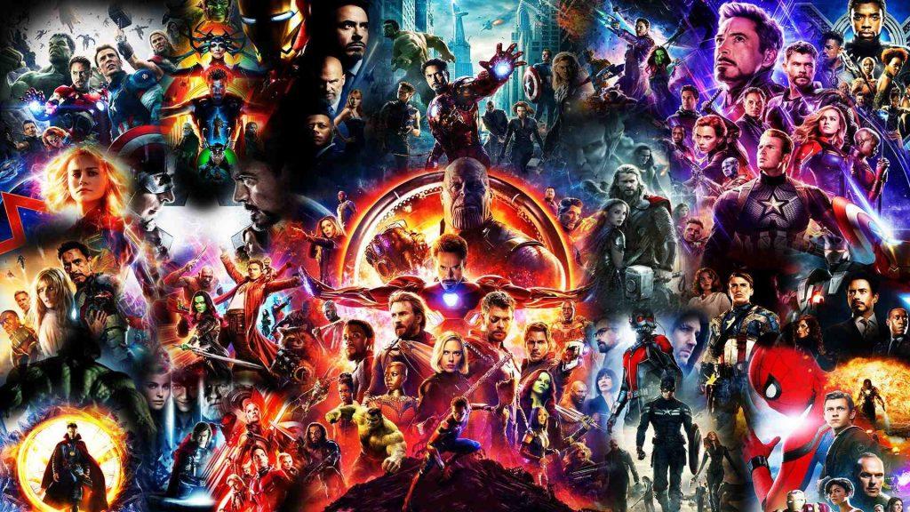 Montagem com filmes do universo cinematográfico da Marvel, que vai ser conteúdo exclusivo do Disney Plus