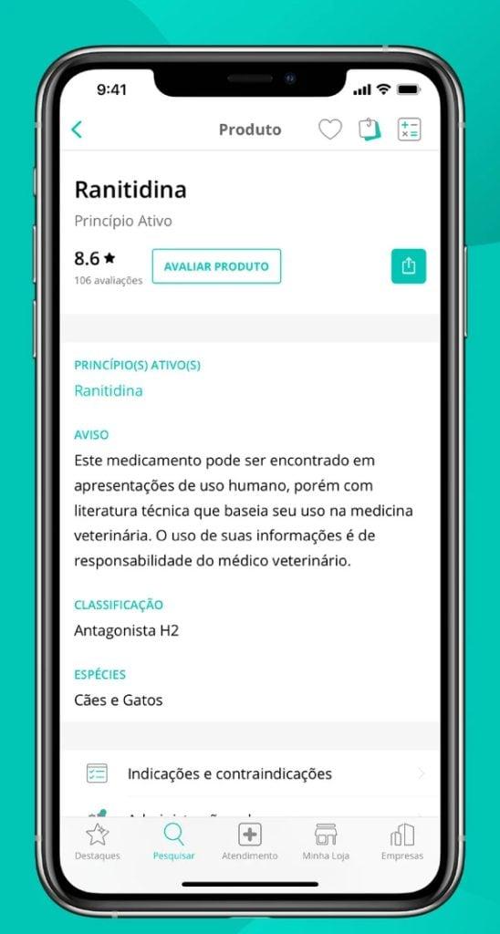 Captura de tela do aplicativo vet smart