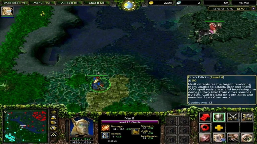 No dota os jogadores não controlam unidades básicas, somente seus heróis, mas há alguns ítens ou habilidades específicas que dão ao jogador possibilidade de controlar essas unidades por um tempo curto.