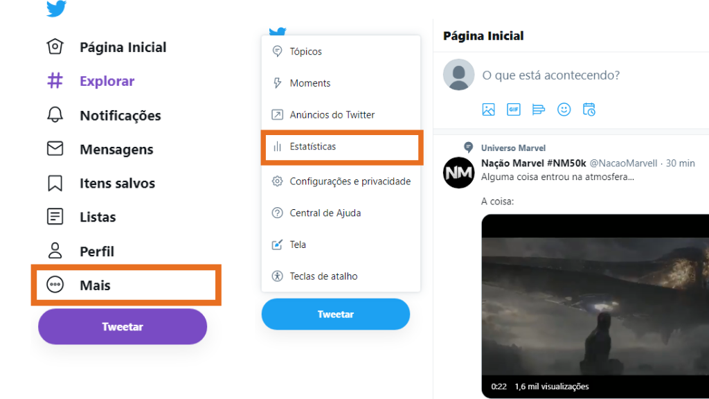Estatísticas analytics do twitter