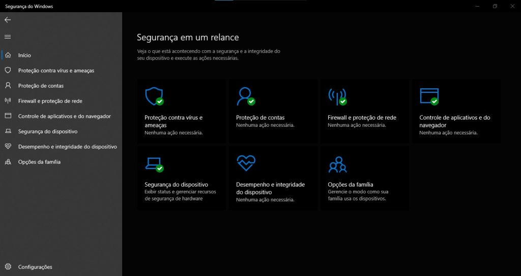 Tela do Windows Defender