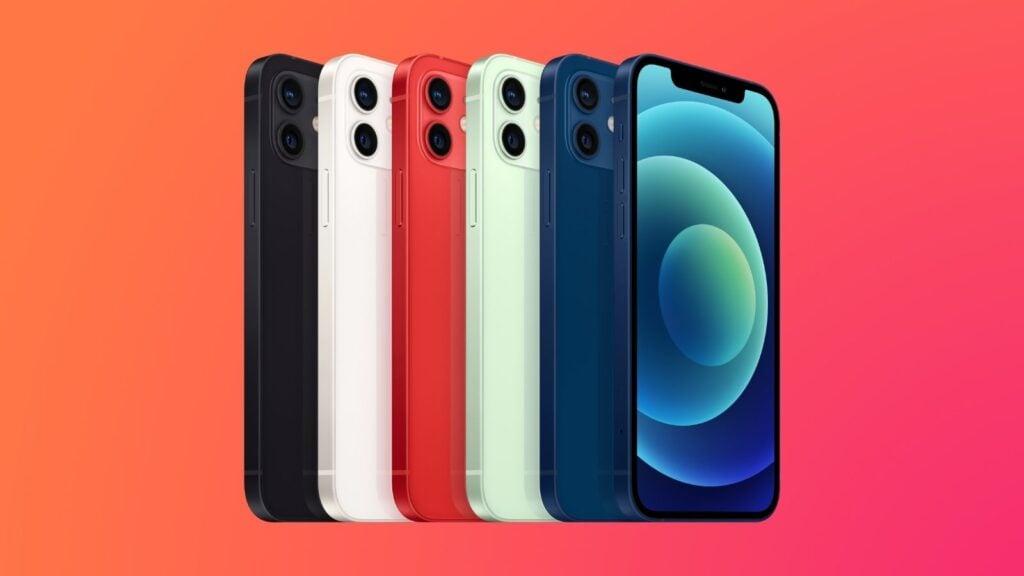 Imagem com vários modelos de iphone 12