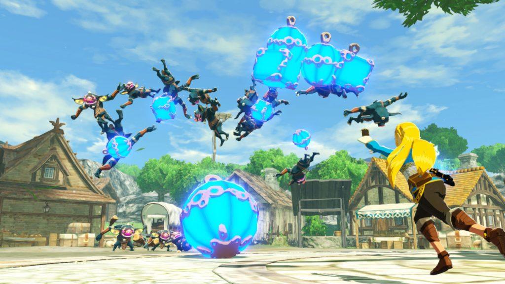 Zelda lançando bombas