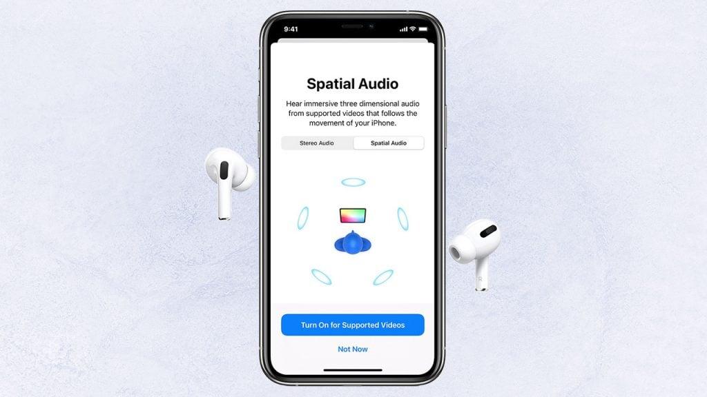 Configuração do áudio espacial dos airpods pro, uma das dicas e truques para iphone 12