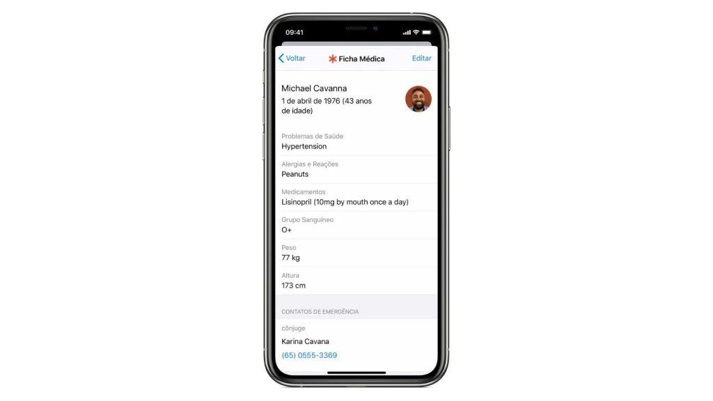 Ficha médica do app saúde, uma das dicas e truques para iphone 12