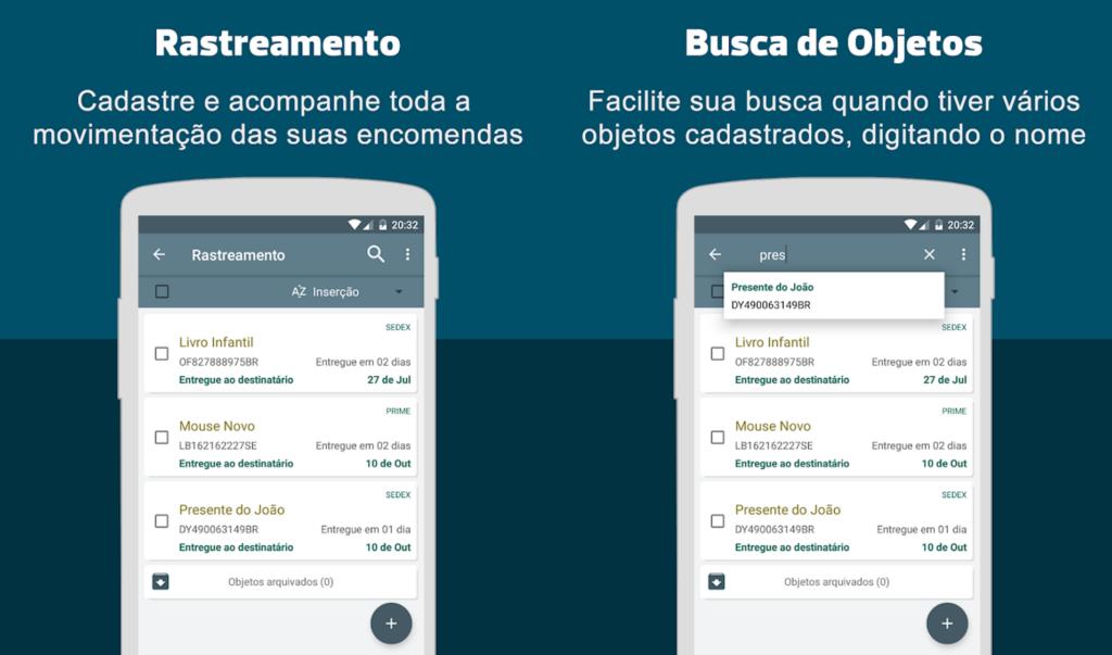 Telas do app rastreio de encomendas para android e ios
