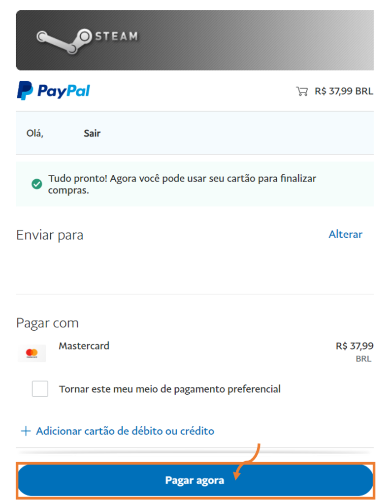 Tela da carteira digital do paypal.