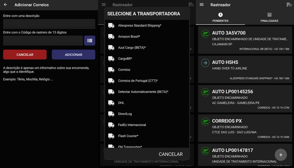 App rastreador de encomendas para acompanhar encomendas dos correios.