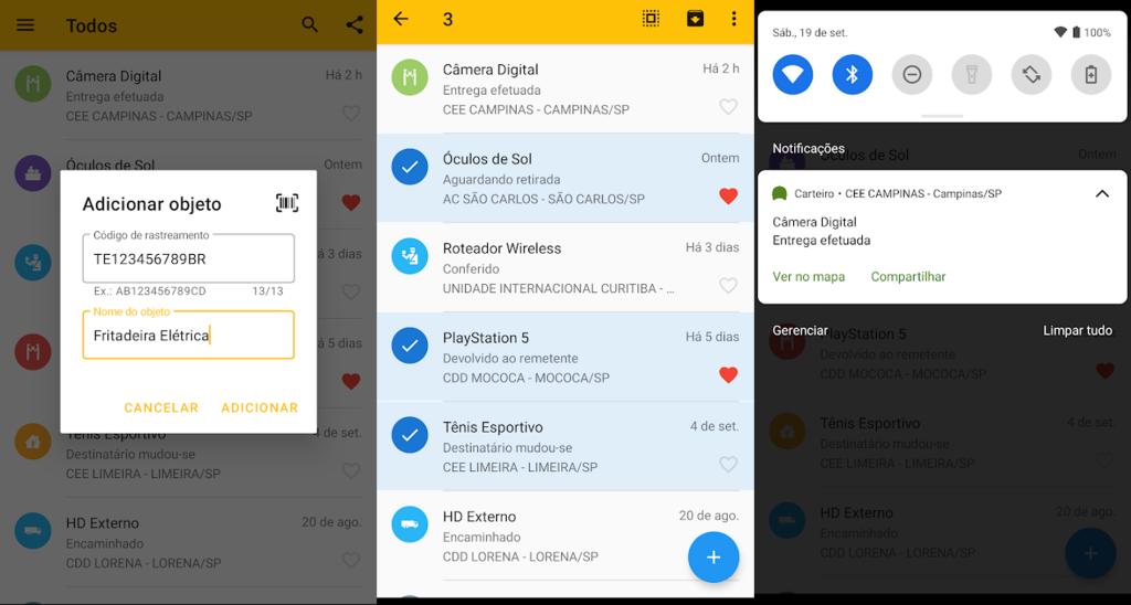 Telas do aplicativo carteiro para acompanhar entregas
