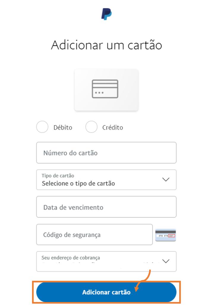 Tela para preencher com os dados de cartões para usar o paypal.