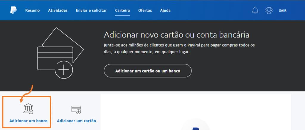 Tela para cadastrar dados bancários e usar no paypal.