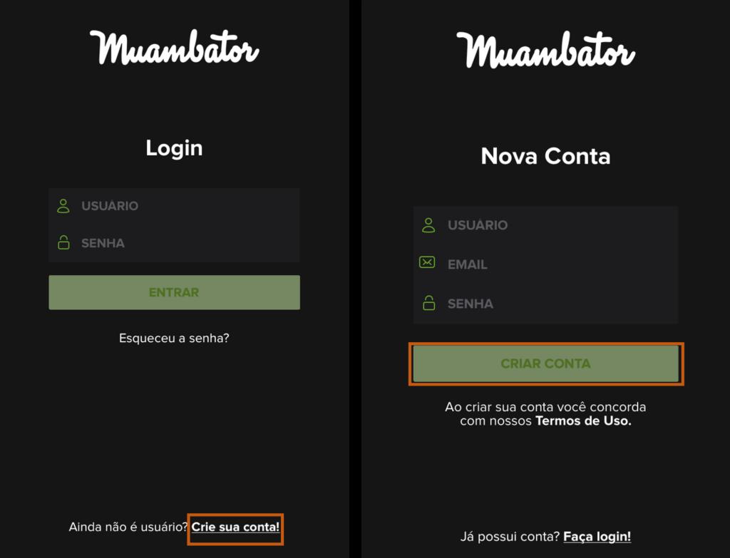 Tela para criar conta no aplicativo muambator.