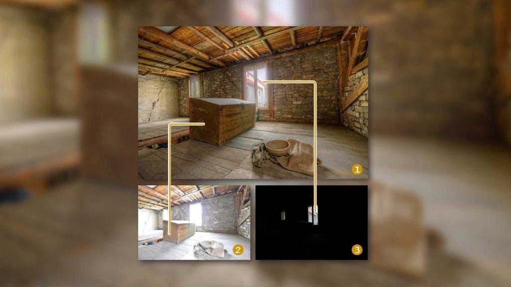 Uma imagem de uma casa de pedra mostrando como se dá a construção hdr da foto.