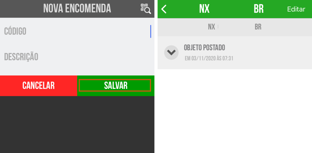 Tela do app postado para incluir dados de rastreio