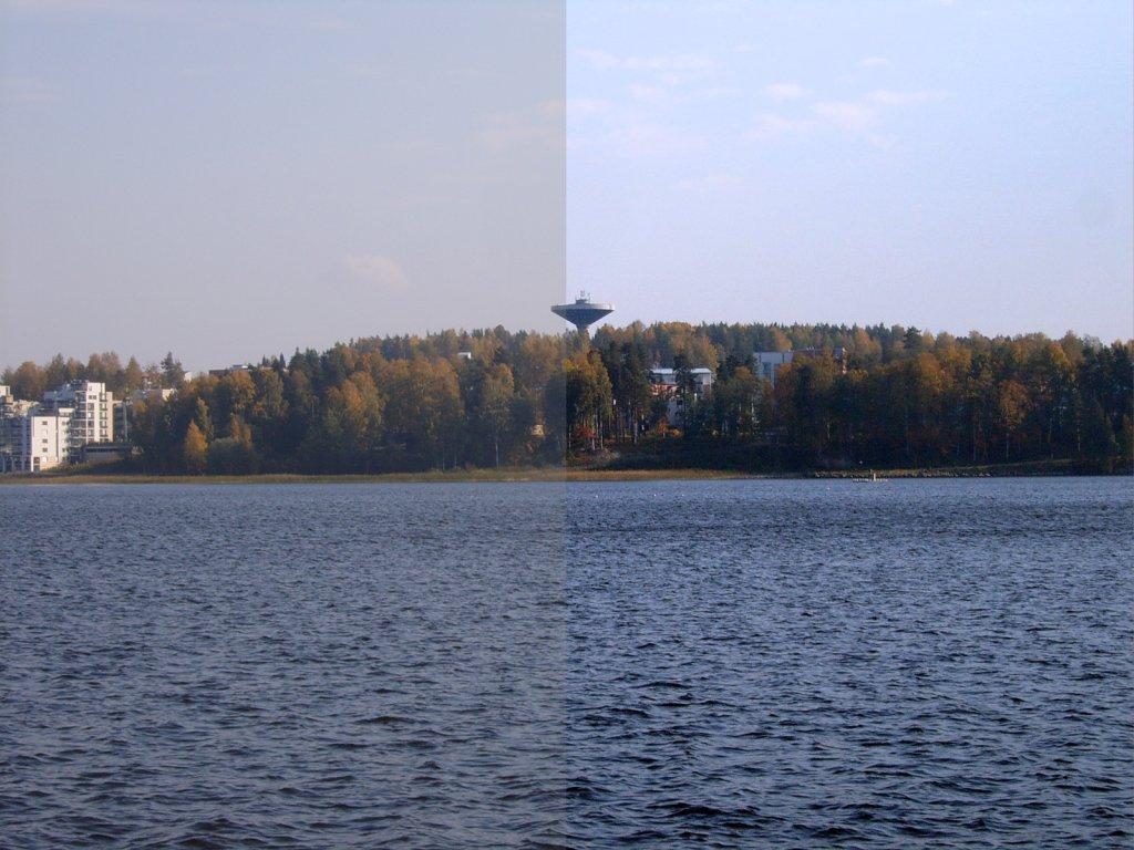 Comparação de contraste usando uma foto de um lago com floresta ao fundo.