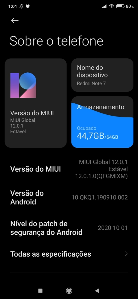 Tela para atualizar o android
