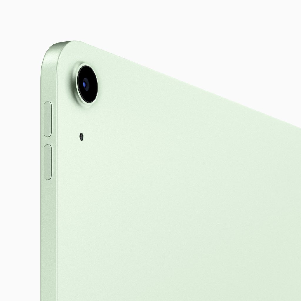 Câmera traseira de um ipad air 4ª geração verde.