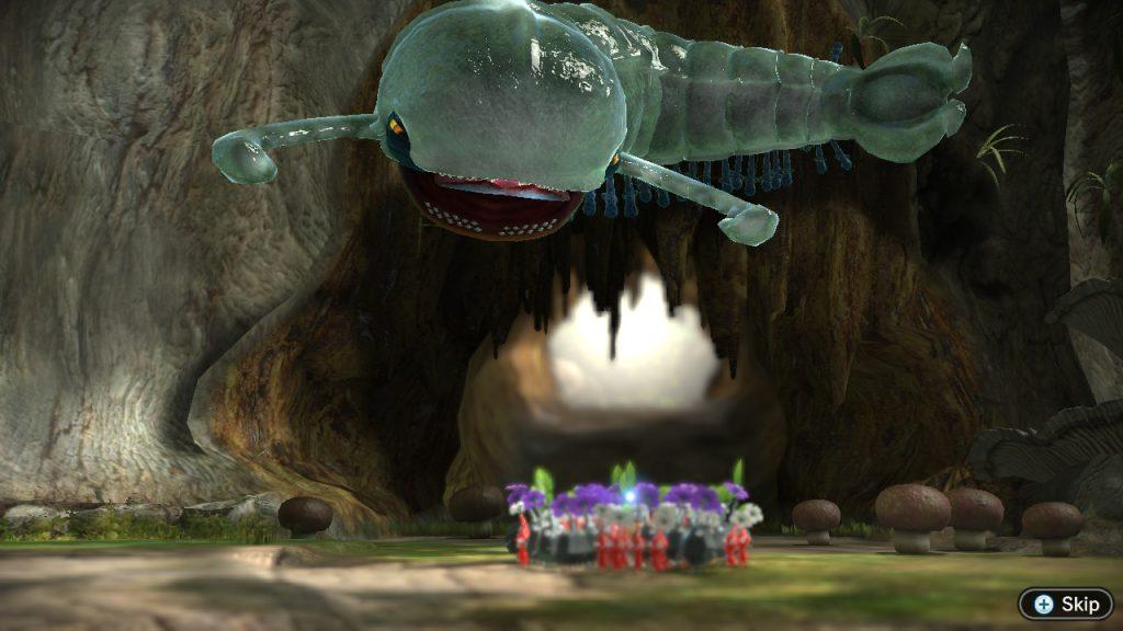 O primeiro chefe do jogo encara os pikmin.